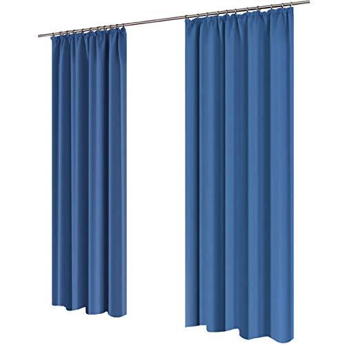 Gräfenstayn Alana - blickdichte einfarbige Thermogardine Verdunklungsgardine mit Universal-Kräuselband - 135 x 245 cm - viele Farben - mit Öko-Tex Siegel - Gardine Vorhang (Blau)