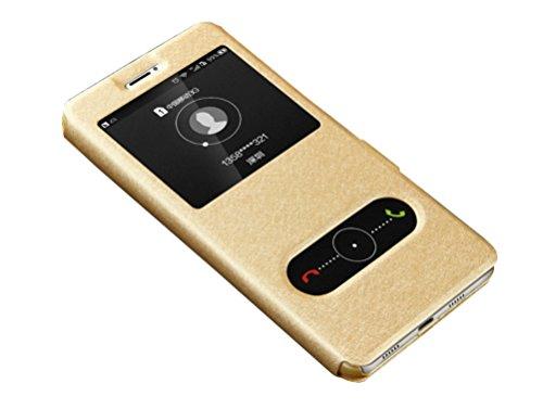 Deesos Huawei Honor Note 8 Hülle Flip Schlank Tasche Schutzhülle Dual Fenster Stand Funktion Magnetverschluss Prämie PU Leder Hülle für Honor Note 8 Gold