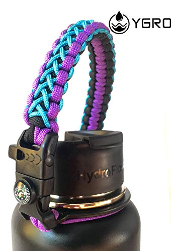 Ygro - Best Paracord Griff - Paracord Carrier Survival Strap Cord Safety Ring Karabiner für Hydro Flask Wide Mouth Water Bottles 312 oz - 64 oz, violett -