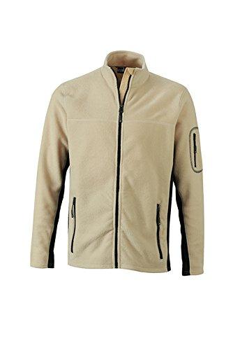 James & Nicholson Herren Workwear Fleece Jacket Jacke Beige (Stone/Black)
