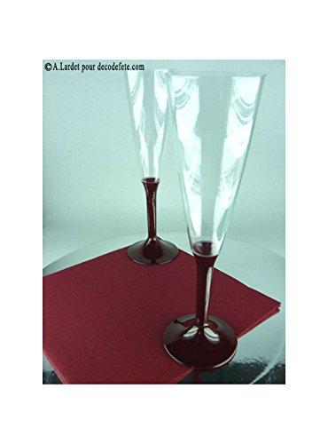 Flûtes à champagne en plastique jetable bordeaux 15cl