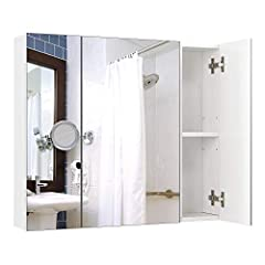 Idea Regalo - Homfa Armadietto a Specchio da Bagno con Ripiani Interiori. 70 × 15 × 60,3 cm (Bianco)