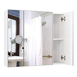 Homfa Armadio a Specchio a Tre Ante Armadietto a Specchio da Bagno con Ripiani Interiori 70 × 15 × 60,3 cm (Bianco)