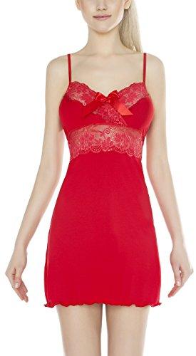 m.Lyra Damen Nachtwäsche Negligee aus Viskose ANNELISE (XS – 2XL) Rot