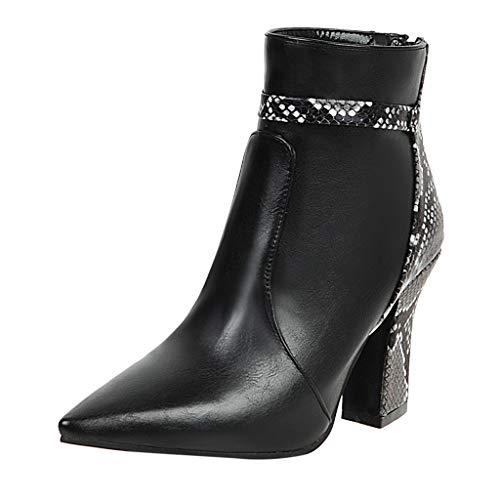 COZOCO Damen Schlangenleder Splicing Stiefel Mode Pointed Stiefeletten Wasserdicht Gefälschte Leder Kurze Stiefel Outdoor Freizeit Schuhe(Schwarz,37 EU)