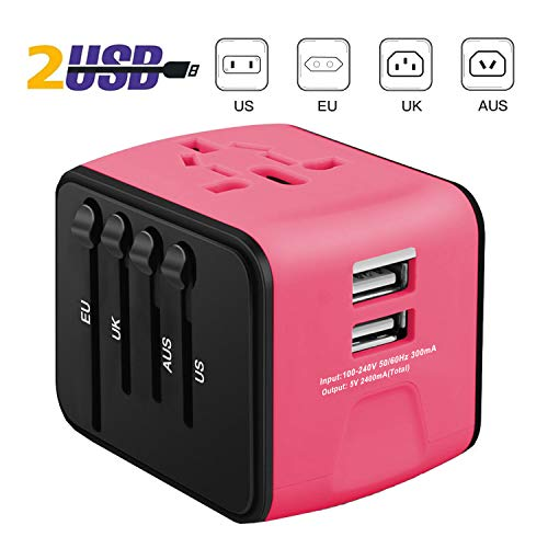 iVoler Adaptador Enchufe de Viaje Universal Cargador Internacional con MAX 2.4A Dos Puertos USB y Seguridad de Fusibles para US EU UK AU Japon Asia África Más de 150 Países (Rosa Oscuro)