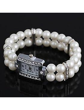 Fenkoo Frauen rechteckige Metalleinlage Strass imitiert Perle Armband uhr weiß (1pc)