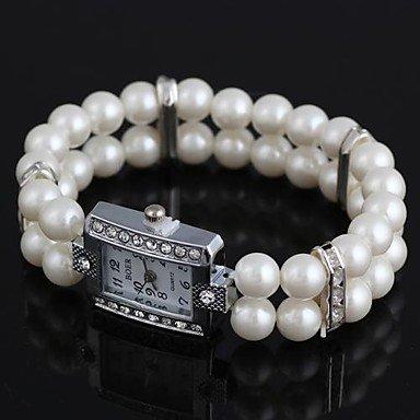 Fenkoo Frauen rechteckige Metalleinlage Strass imitiert Perle Armband uhr weiß (1pc) (Strass-perlen-armband-uhren)
