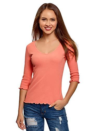 oodji Ultra Damen Baumwoll-Bluse mit V-Ausschnitt, Rosa, DE 40 / EU 42 / L