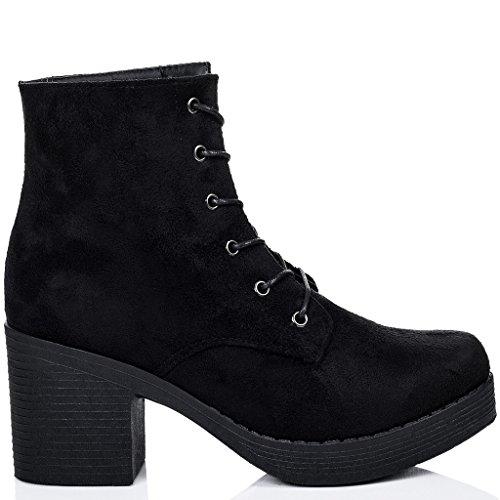 30173ca42faa54 ... SPYLOVEBUY VIOLA Femmes Lacet Plateforme à Talon Bloc Bottines  Chaussures Noir - Simili Daim ...
