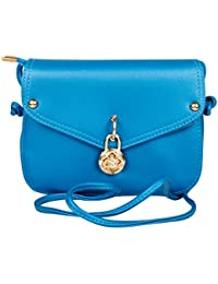 PU Leather Stylish Sling Bag / Purse For Women & Girls, Color - Blue (1226)
