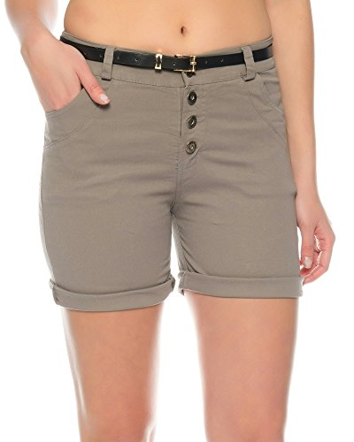 Kendindza Damen Sommer Shorts | kurze Chino Hose | Bermuda mit Gürtel (Fango ( Knöpfe ), M) (Bermuda Damen Hosen)
