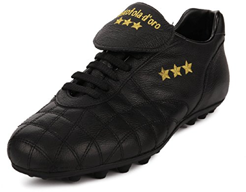 Pantofola d'Oro Scarpa da Calcio Del Duca, Pelle di Vitello, Linguetta Lunga (PC2384-02nN (44.5, Nero)