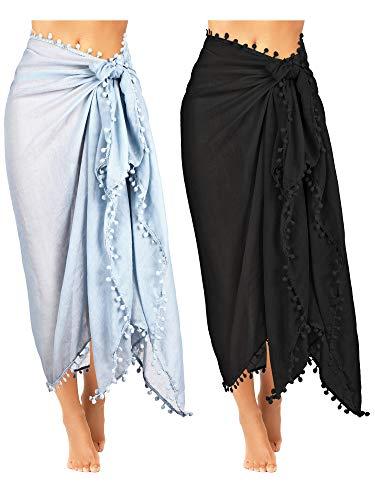 Boao 2 Stück Damen Strand Batikdruck Lange Sarong Badeanzug Vertuschen Wickeln Pareo mit Quaste für Damen Mädchen (Farbe Set 2)