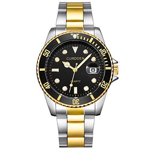 Orologio da polso analogico al quarzo Fenebort, orologio da polso analogico da uomo d'affari con cinturino in acciaio inossidabile e quadrante semplice al quarzo per gli uomini Q-01