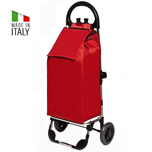 Einkaufstrolley Lilly Click in rot mit 50L klappbar - Transport-Wagen Trolley mit leisen Gummi Rädern - Einkaufsroller bis 30kg belastbar - Gewicht nur 1.7kg (30 Trolley)
