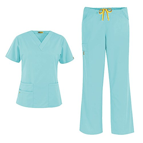 bcc9d069aed WonderWink Origins Women's 6016 Bravo Top & Romeo Pant 5026 Medical Uniform  Scrub Set (Seabreeze