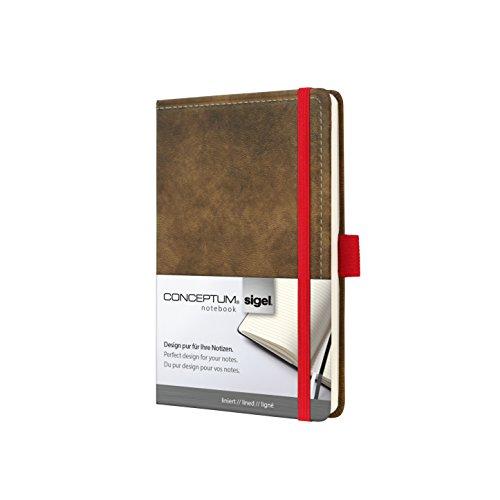 Sigel CO602 Notizbuch, ca. A6, liniert, Design Vintage, Leder-Look, braun CONCEPTUM - große Auswahl