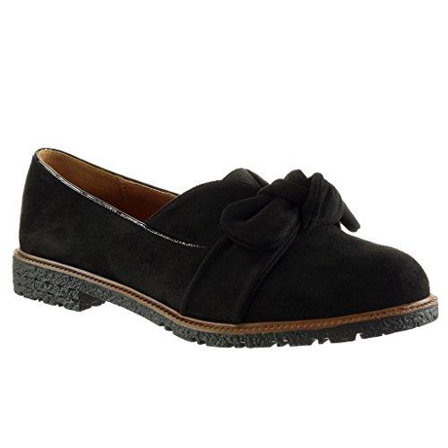 Angkorly - Chaussure Mode Mocassin slip-on femme noeud lanière Talon bloc 2 CM Noir