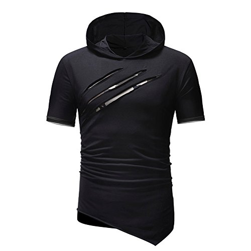Sannysis Herren T-Shirt Kapuzenshirt Persönlichkeit Männer Reine Farbe Hoodie Sport Kurzarm Shirt Top Bluse
