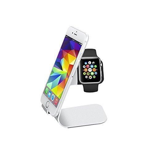 --- Calidad premium, grabado incluido --- 2en1 cargador/ base / soporte para iPhone / iWatch de Apple en color plata de aluminio noble (regalo perfecto)