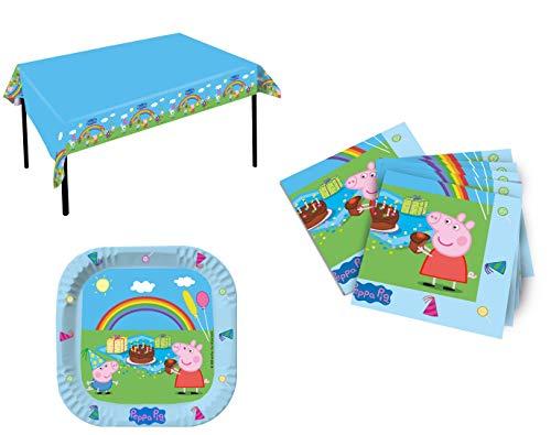 pteller & 20 Servietten & 1 Tischdecke von Peppa Pig / Familie Wutz zum Kindergeburtstag / Geburtstagsdekoration ()