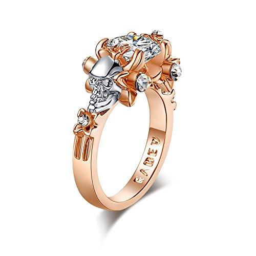 Oro rosa anello teschio evbea unico zircone anelli di fidanzamento per le donne, base metal, 22, cod. hcr395