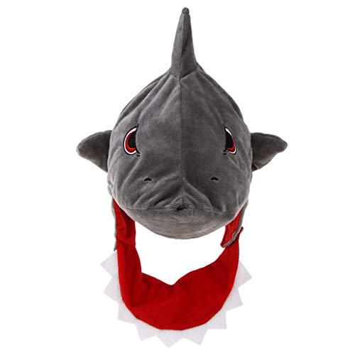 wachsenenhut Hai Mütze Hauhut Plüschtier Hai Haifisch Kopfbedeckung ()