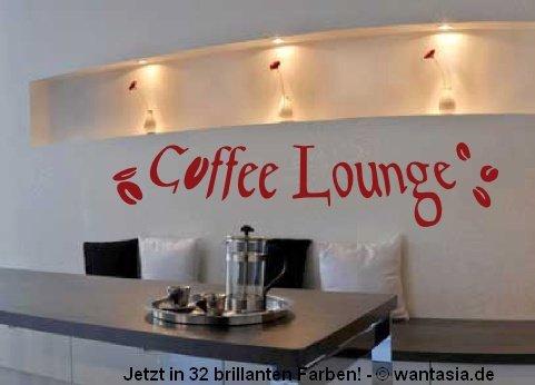 Preisvergleich Produktbild Wandtattoo für die Küche / Esszimmer Text COFFEE LOUNGE, Kaffee mit Bohnen, 29x8 cm, schwarz, 600168 Wandaufkleber Wandtatoos Sticker Aufkleber für die Wand, Fensterbild