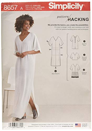 Simplicity Women's Caftan with Options for Design Hacking Sewing Pattern, Paper, White, XXS/XS/S/M/L/XL/XXL