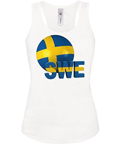 Schweden Fussball Fanshirt 5145 Damen Fan Fun Tank Top Funshirt Weiss XL