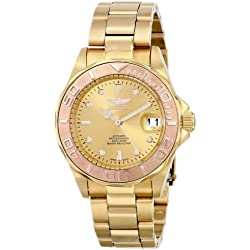 invicta 13930 - Reloj analógico para hombre, correa de acero inoxidable chapado color dorado (agujas luminiscentes)