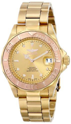 Invicta 13930 - Reloj analógico para Hombre, Correa de Acero Inoxidable Chapado Color Dorado Agujas...