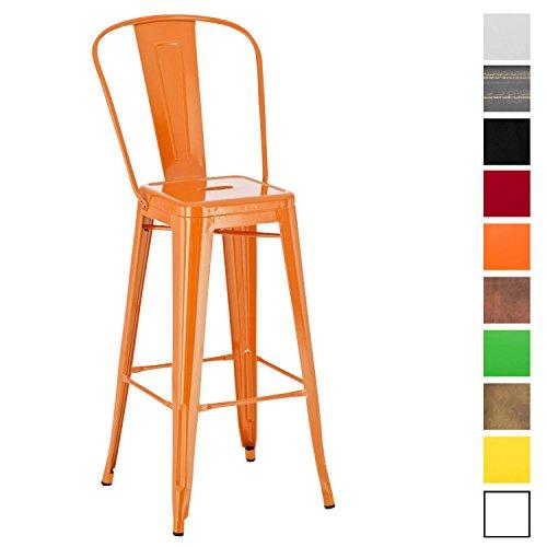 CLP Tabouret de Bar Design AIDEN, 100% en Métal Robuste, Tabouret de Bar Style Industriel avec Dossier et Repose-pied, Chaise Haute d'Extérieur avec Hauteur Assise 77 cm, Couleurs au Choix orange