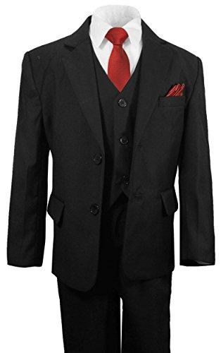 Paul Malone festlicher Jungen Anzug Kinderanzug schwarz Set 6tlg (tailliert) 2-Knopf Sakko (Mit Einreiher Zwei-knopf-anzug)