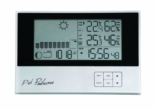 Cresta PWS500 Piet Paulusma Digital Wireless weather station, weather report, air pressure, moon phase, humidity, clock with dual alarm Function-Silver
