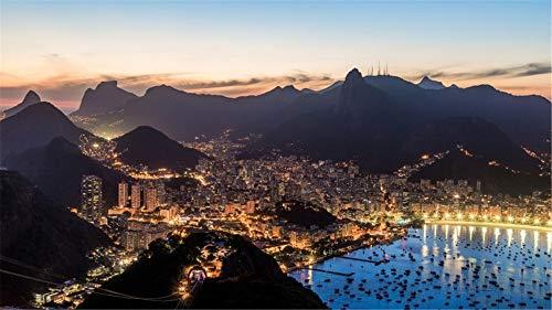 Tapeten Wand Rio De Janeiro Brasil City Night Lights für Innenministerium Fernsehwand Hintergrund Dekoration Seide (W)500x(H)280cm