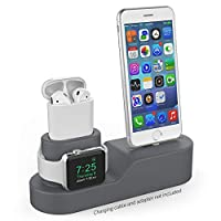 AHASTYLE 3 in 1 Charging Stand Dock Silicone Compatible with Apple Watch iPhone AirPods, Support Apple Watch Series 3/2/1/AirPods/iPhone X/8/8 Plus/7/7 Plus/6s(Dark Gray)