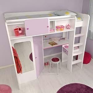 Lit mezzanine avec bureau et dressing LOLA