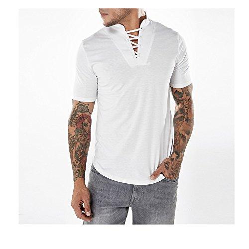 Produktbild Challeng Herren T-Shirt Slim-Fit,  Oversize Herren Vintage T-Shirt Verwaschen V-Neck Basic V-Ausschnitt Shirt, Bluse Herren Sommer (S,  Weiß)