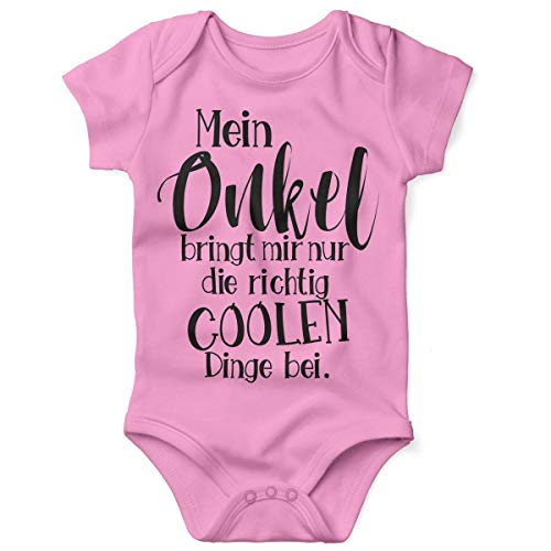 Mikalino Babybody mit Spruch für Jungen Mädchen Unisex Kurzarm Mein Onkel bringt Mir nur die coolen Dinge bei | handbedruckt in Deutschland | Handmade with Love, Farbe:rosa, Grösse:56