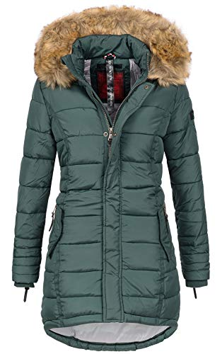 Navahoo Papaya Damen Winter Jacke Steppjacke Mantel Parka gesteppt warm B374 (M, Forest Green)
