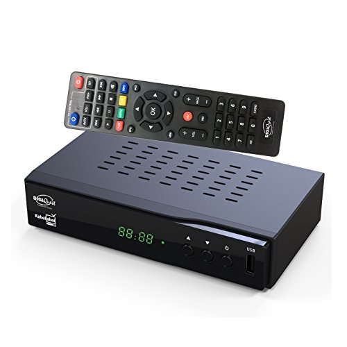 DigiQuest KabelAbel Full-HD Kabelreceiver Digital DVB-C (HDMI,Scart,LAN,USB,Display,Tasten,2in1 Fernbedienung)