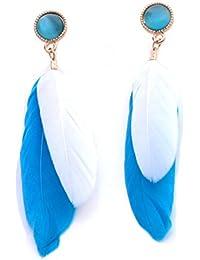 Orecchini a perno con pietre occhio di gatto blu e bianco piuma (in organza sacchetto).