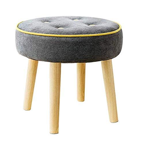 S_LLSL_ Gepolsterter Hocker Ottoman Round Pouffe Holzbeine Round Big Checkered 4 Legs Multifunction Household Creative (4-fuß-badezimmer-eitelkeit)