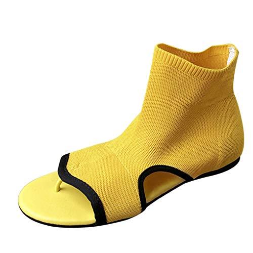 Skate Schuhe Flanell (2019 Neu Sandalen für Frauen/Dorical Damen Mädchen Damen Sommer Mode flach Casual Fashion Flat Knitted Woolen Thong Sandals Boots Schuhe 35-39 EU(Gelb,35 EU))