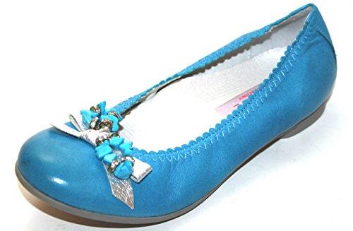 Cherie Crianças Sapatos Menina Bailarinas 7804, Azul (azul / Prata), Ue 32 (sem Caixa)