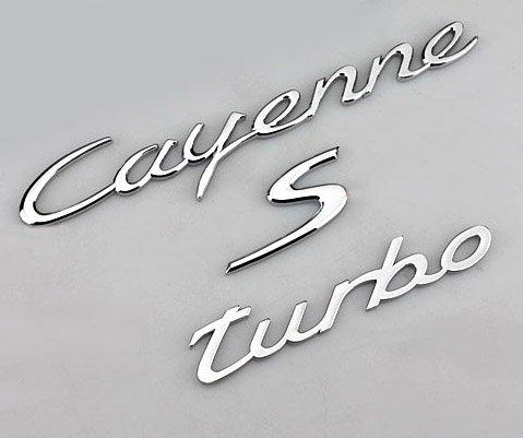 BENZEE B075 chrom Porsche Cayenne Turbo Decklid Trunk S Hatch Auto Aufkleber Emblem Badge