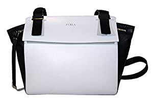 Black and white leather Furla shopping bag with shoulder strap for women, Dolce Vita collection