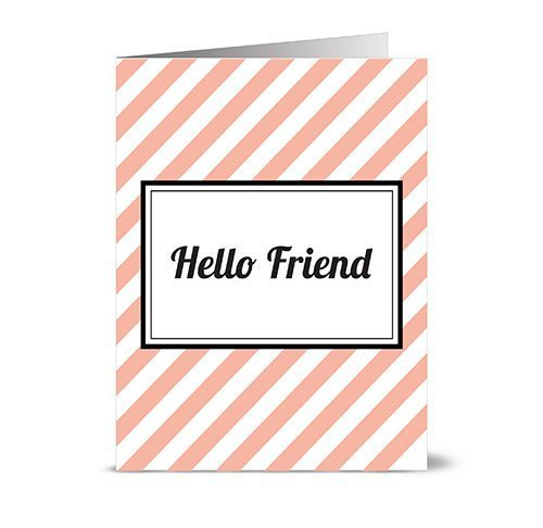 modern-diagonal-stripe-hello-friend-coral-24-cards-for-749-blank-cards-w-grey-envelopes-included-by-